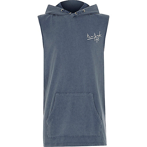 Boys blue 'New York' sleeveless hoodie