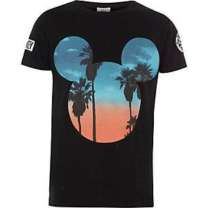 Zwart Mickey Mouse T-shirt met zonsondergang voor jongens