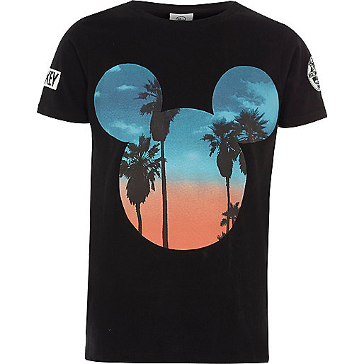 Boys black Mickey Mouse sunset T-shirt