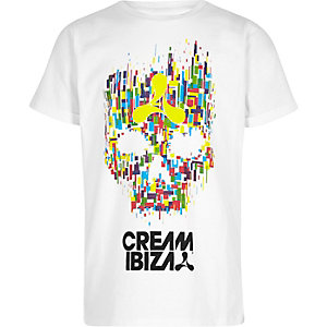 Boys white 'Cream Ibiza' skull print T-shirt