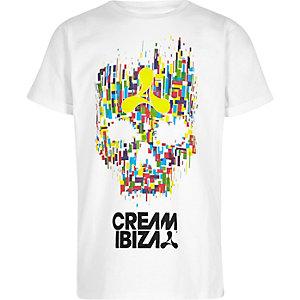 T-shirt imprimé tête de mort et «Cream Ibiza» blanc pour garçon