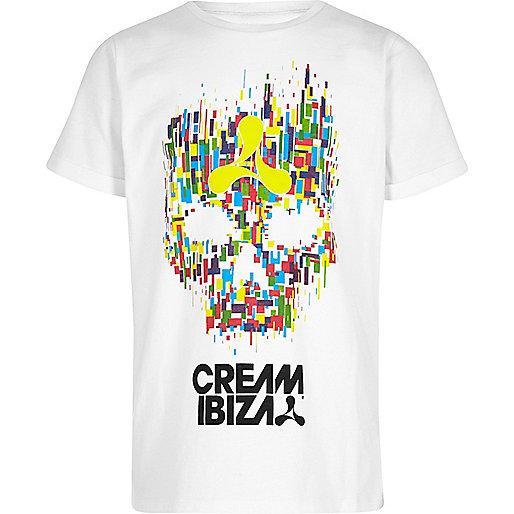 Boys white 'Cream Ibiza' skull print T-shirt