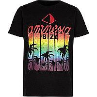 Boys black 'Amnesia Ibiza' print T-shirt