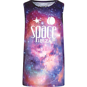 Boys purple 'Space Ibiza' print vest
