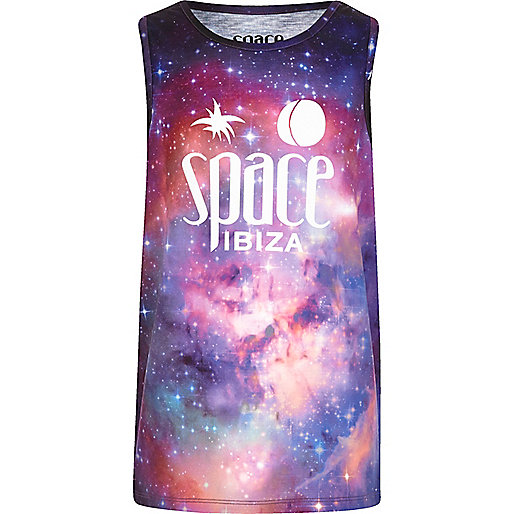 Boys purple 'Space Ibiza' print tank