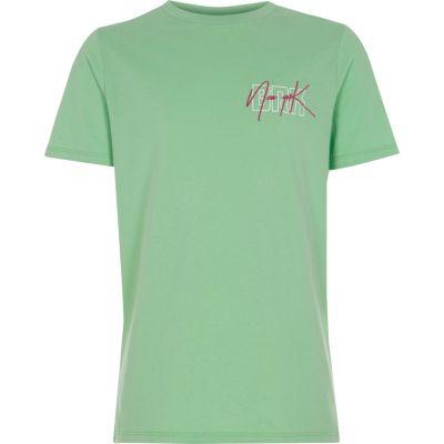 Groen T-shirt met ronde hals en New York'-print voor jongens
