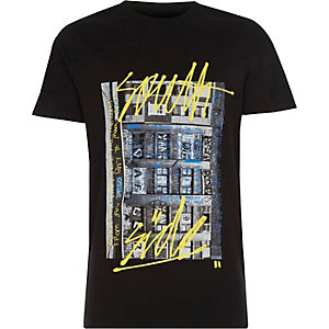 Boys black 'South Side' print T-shirt