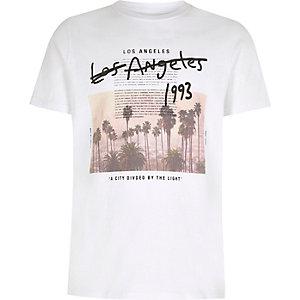 Boys white 'Los Angeles' print T-shirt