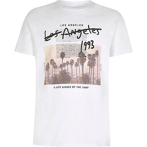 Wit T Shirt Met 39 Los Angeles 39 Print Voor Jongens