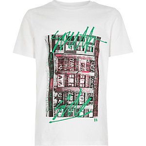 Boys white 'South Side' city print T-shirt