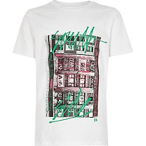 Wit T-shirt met 'South Side'-print voor jongens