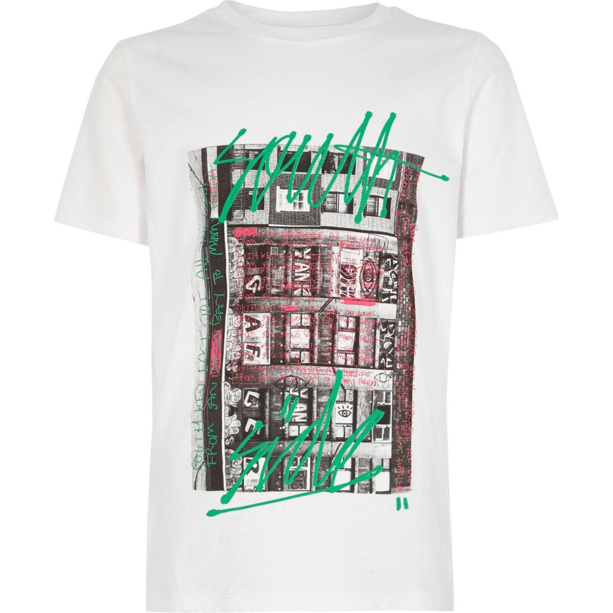Boys white 'South Side' city print T-shirt