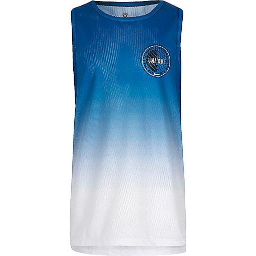 Boys blue fade mesh printed tank
