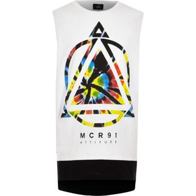 Wit tie-dye hemdje met grafische print voor jongens