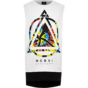 Boys white tie dye graphic print vest