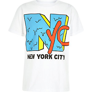 Boys white 'NYC' print crew neck T-shirt