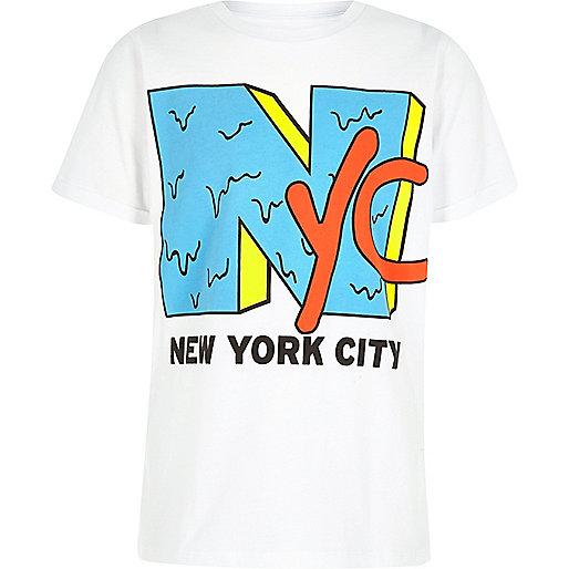 Boys white 'NYC' print crew neck T-shirt