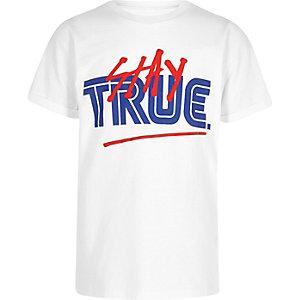 Wit oversized T-shirt met 'stay true'-print voor jongens