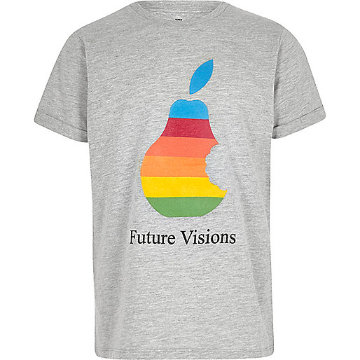 Boys grey marl 'Future Visions' print T-shirt