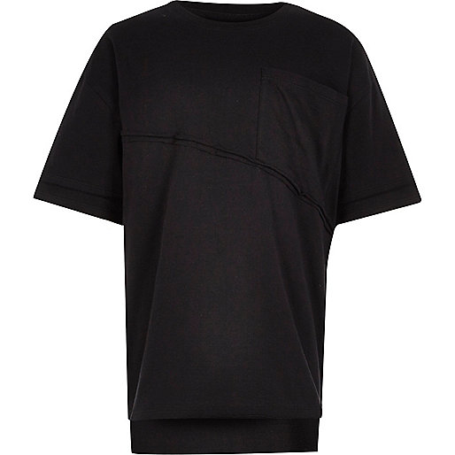 Boys black boxy oversized T-shirt