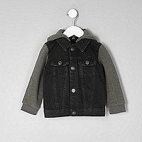 Mini - Zwart denim jack met jersey mouwen voor jongens
