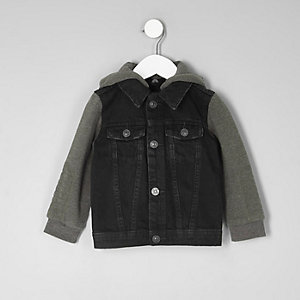 Mini boys black jersey sleeve denim jacket
