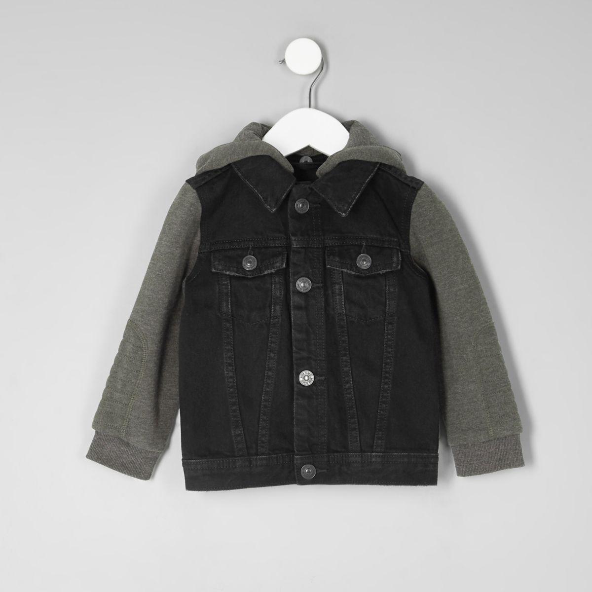 Mini boys black jersey sleeve denim jacket
