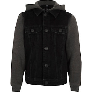 Black long jersey sleeve hooded denim jacket