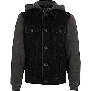 Schwarze, lange Jeansjacke mit Kapuze