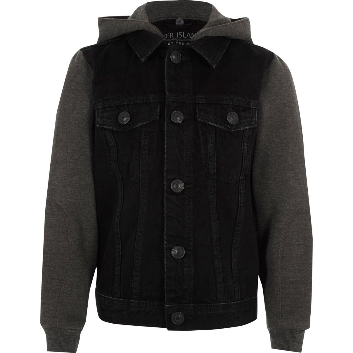 Boys black jersey sleeve hooded denim jacket