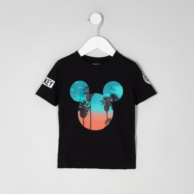 Mini boys black Mickey Mouse sunset T-shirt