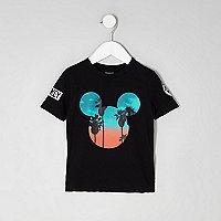 Schwarzes T-Shirt mit Mickey Mouse-Motiv