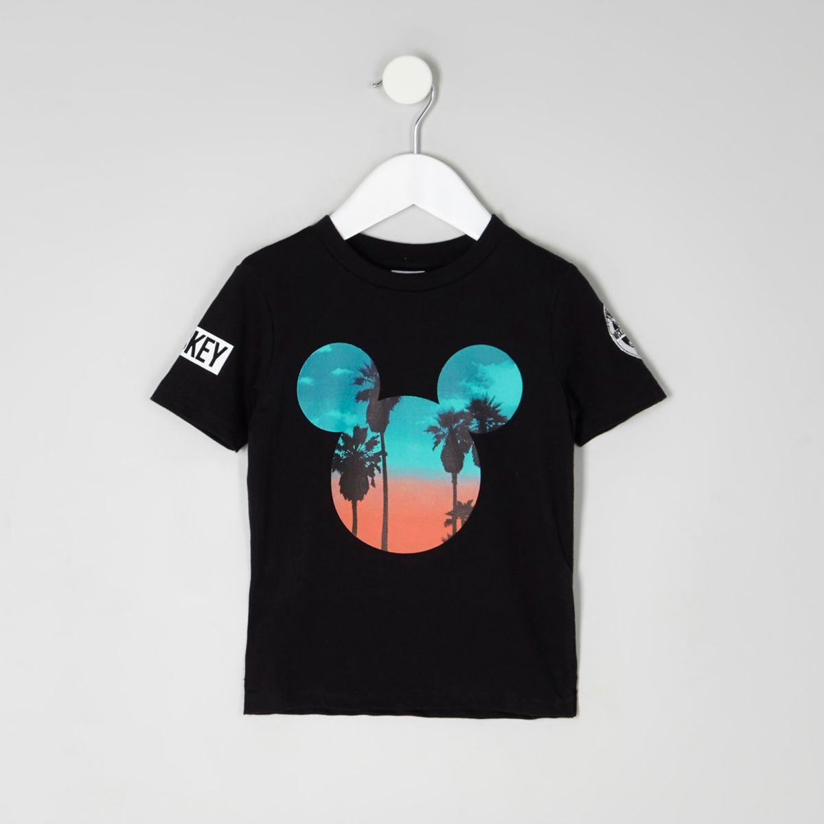 Mini boys black Mickey Mouse sunset T-shirt