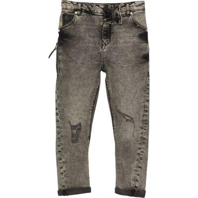Tony Grijze acid wash ruimvallende jeans voor jongens