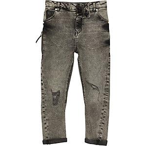 Tony - Grijze acid wash ruimvallende jeans voor jongens
