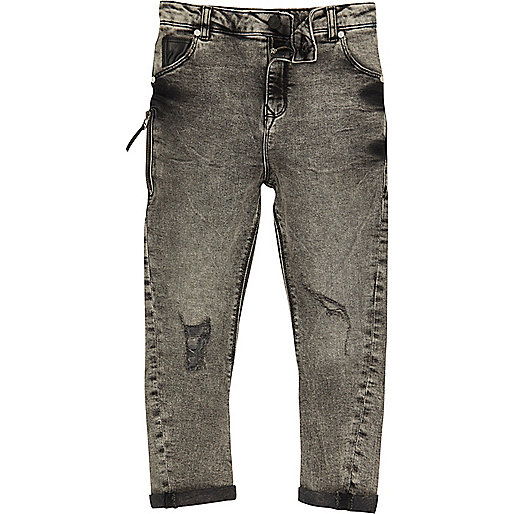 Boys grey acid wash Tony slouch jeans