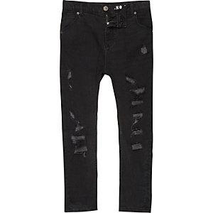 Tony - Zwarte washed gescheurde ruimvallende jeans voor jongens