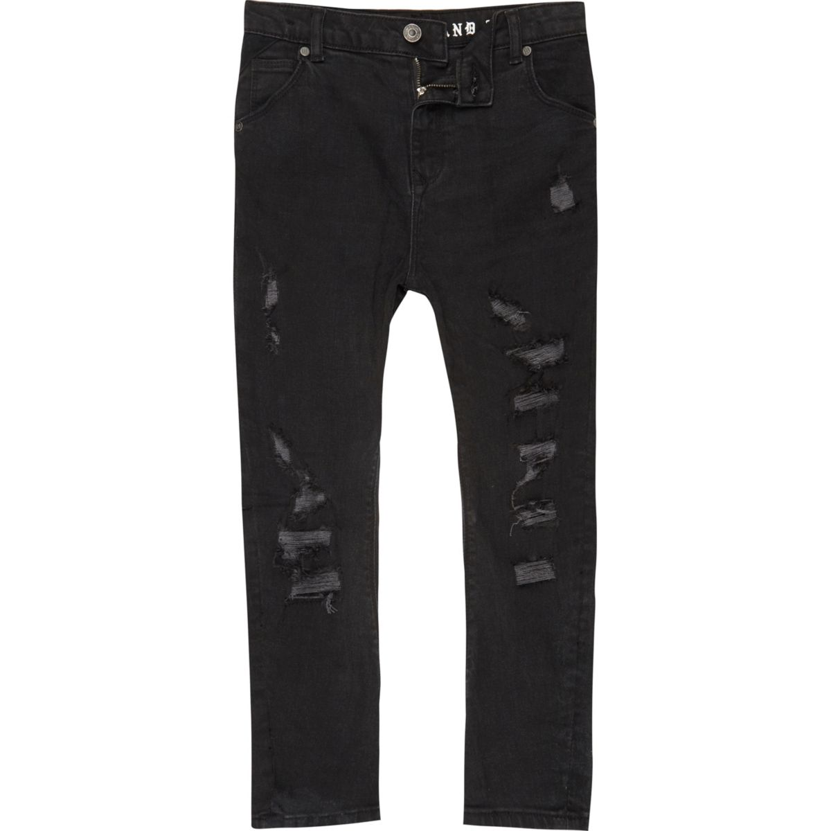 Boys black washed Tony ripped slouch jeans