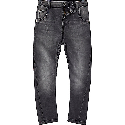 Boys black washed Tony slouch jeans
