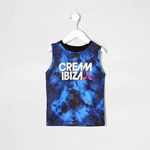Mini boys blue tie dye 'Cream Ibiza' vest