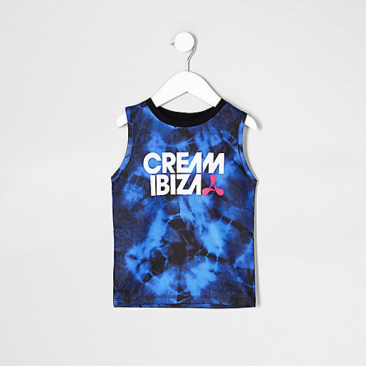 Mini boys blue tie dye 'Cream Ibiza' tank