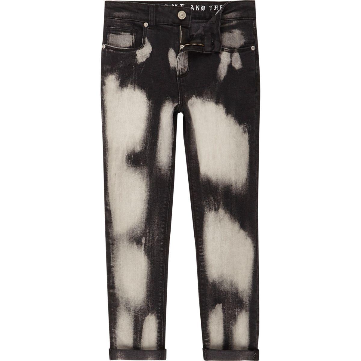 Boys black bleach Sid skinny jeans