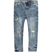 Boys mid blue ripped Tony slouch jeans