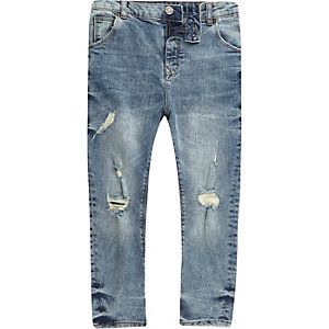 Boys mid blue ripped Tony slouch jeans
