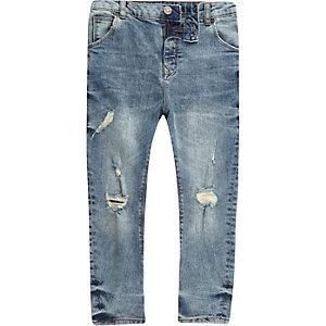 Tony - Middenblauwe ripped ruimvallende jeans voor jongens