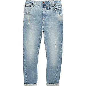 Tony - Lichtblauwe ruimvallende distressed jeans voor jongens