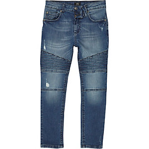 Boys mid blue biker detail Sid skinny jeans