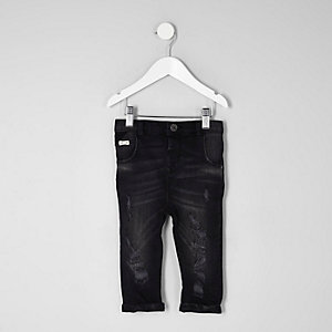 Mini – Tony – Schwarze Loose Fit Jeans im Used Look
