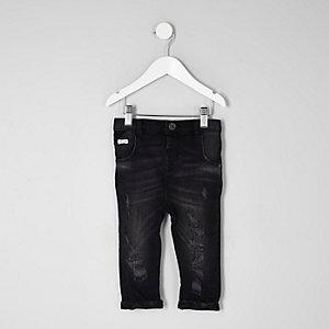 Mini - Tony - Zwarte ruimvallende distressed jeans voor jongens