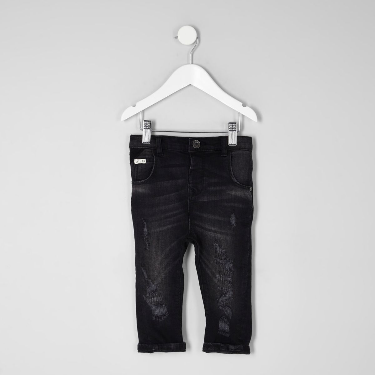 Mini boys black Tony distressed slouch jeans